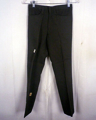 vtg 50s 60s NOS NWT BRAMLEY olive gray RAYON / ACETATE FLAT FRONT PANTS 26 X 26