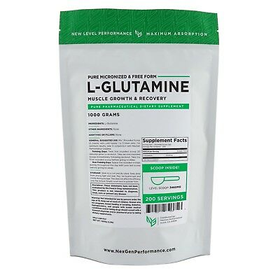 L-GLUTAMINE Powder 2.2lb (1000g) -100% Pure -Free Form -Recovery -Muscle Growth
