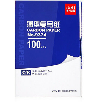 100 SHEETS 32K CARBON PAPER HAND COPY Handwriting –BLUE FREE SHIPPING