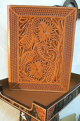 Western Paper Pad Holder 3D Leather Tooled Saddle Tan Western Home Office Decor