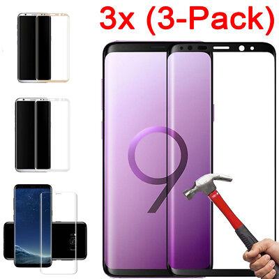 3x 9H+ Tempered Glass Curved Full Screen Protector For Samsung Galaxy S6 S7 Edge
