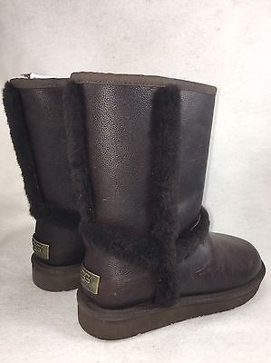 UGG CARTER WATER RESISTANT Leather SHEEPSKIN BOOTS US 7 WOMENS 1005803 chocolate