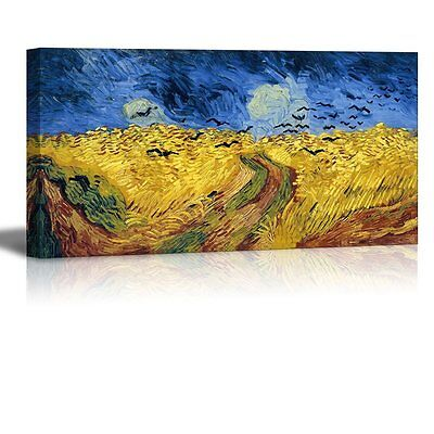 """Wheatfield with Crows by Vincent Van Gogh - Canvas Print Wall Art - 24"""" x 48"""""""