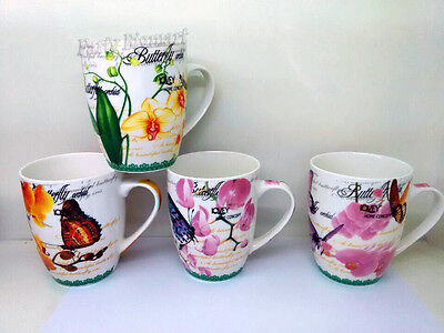 Coffee Mugs Set of 4 Butterfly Orchid Designs Tea Cup Bone China mugs-AU H1553