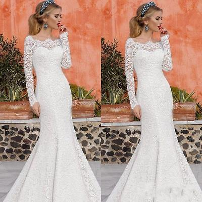 Sexy Mermaid Wedding Dress Lace Long Sleeve Bridal Gown Custom made