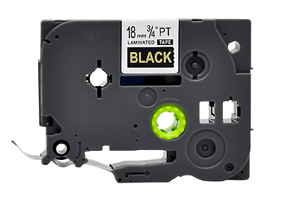 TZe-344 TZ 344 Gold on Black P-Touch Label make Tape Compatible Brother 18mm