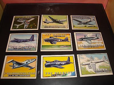 1952 Topps Wings Trading Card Lot Of 9 Fair Military Aircraft Trading Cards L4
