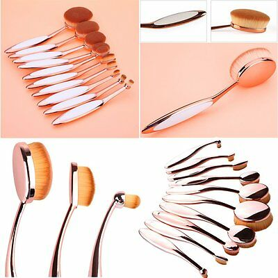 10pcs Professionali Ovale Spazzola Pennelli Make-Up Cosmetic Brush Trucco Nuovo