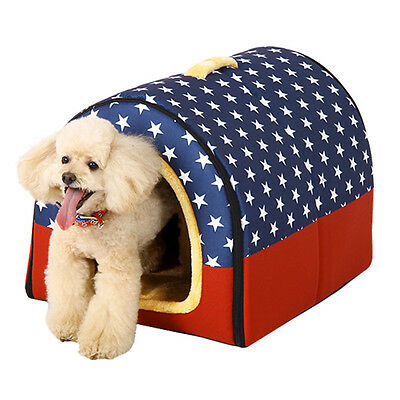 New Pet House Removable Flannel Dog Cat Sleeping Bed Winter Warm Cushion Kennel