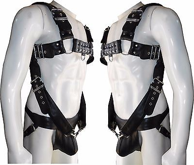 Mens Leather 'H' Bulldog HARNESS GAY Leather white  Detachable straps 38 to56