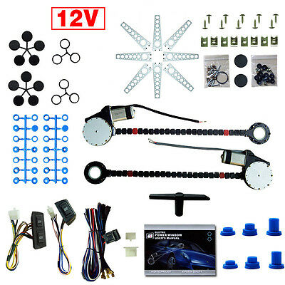 Universal 2 Door Electric Car Truck Power Window Conversion Kit +Switches
