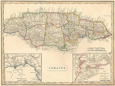 1848 Ca ANTIQUE  MAP-H/COL- JAMAICA, INSETS KINGSTON/PORT ROYAL, BLUEFIELDS