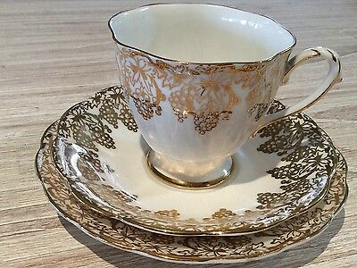 Royal Standard Trio Cup Saucer Plate Gold Chintz Filagree On White