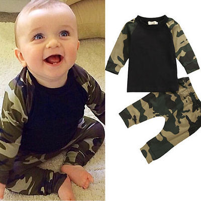 2PCS Newborn Kids Baby Boys T-shirt Tops Long Pants Outfits Set Tracksuit New