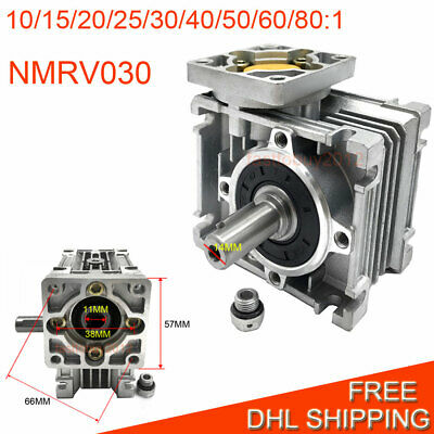 Worm Gearbox RV030 Speed Reducer 10 15 20 25 30 40 50 60 80:1 for NEMA23 Stepper