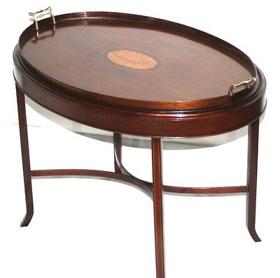Antique Edwardian Marquetry Inlaid Oval Tray Table [PL2682]