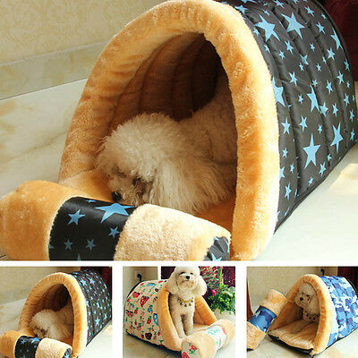 New Pet House Printing Removable Dog Puppy Cats Warm Bed Kennel W/Cushion Pillow