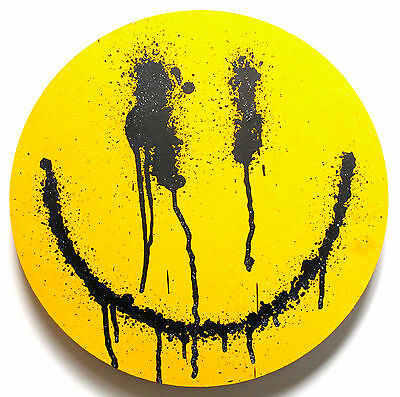 Ryca - Original Smiley Signed Painting On Wood & Banksy - Not A Print - Graffiti