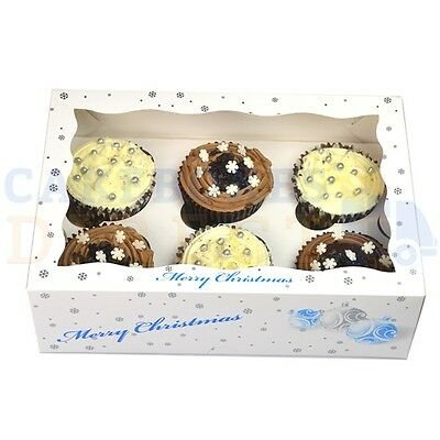 6 Christmas Cupcake Box + Divider Cheapest On Ebay Choose Your Quantity