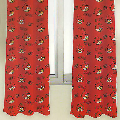 "Angry Birds Red Bird Character Ready Made 168x137cm 66x54"" Pencil Pleat Curtains"