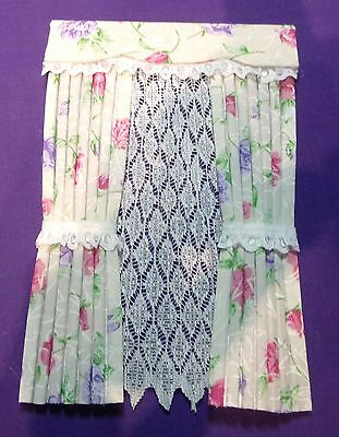 12th SCALE PINK & PURPLE ROSES BEIGE CURTAINS