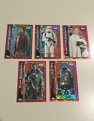 Star Wars - Rogue One (TOPPS collector cards) 5 x Rainbow Foil Insert Cards Lot