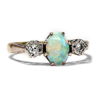 Vintage OPAL & BRILLANT RING: Gold & Platin, Diamanten 750 Gold Opale