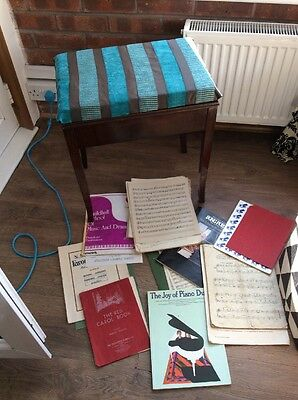 Piano Stool/bench With Storage Sheet Music Included
