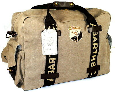 Fiat Abarth & Co Vintage Cotton Canvas Travel Bag New Genuine 59230465