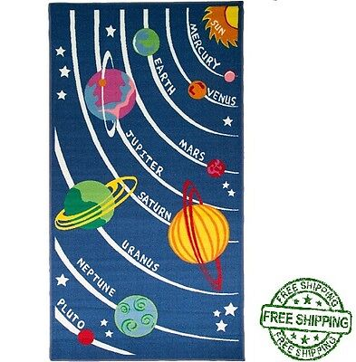 Children's Rugs Blue Outer Space Rug Play Area Rug Mat For Kids / Boys / Girls