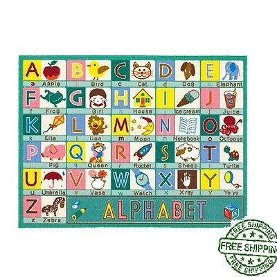 Children's Rugs Playtime ABC Sage Green Area Rug Mat Carpet For Kids Playroom