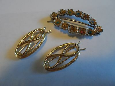 Vintage Lot Of 3 Gold Tone Hair Barrettes, Unmarked