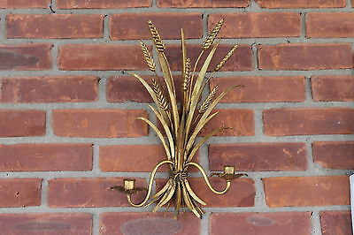 Hollywood Regency Gilt Tole Metal Gold Wheat Candle Light Sconce