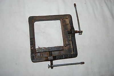 "UNUSUAL ANTIQUE  4"" X 4 "" 2-Way Cast Iron Clamp E.C.H.TOOL CO."