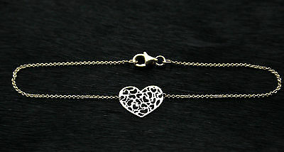 9ct yellow gold heart charm bracelet 19cm Gift Boxed