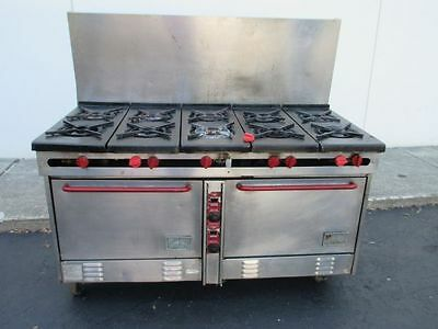 """Southbend 62"""" Natural Gas 10  Burner Range With Double Convection Oven Base"""