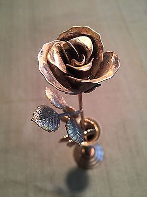 "Vintage Silver Plated Vase and Single Rose--12"" Tall"