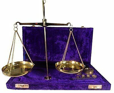 100 gram Traditional Boxed Brass Balance Scales with weights and Tweezers
