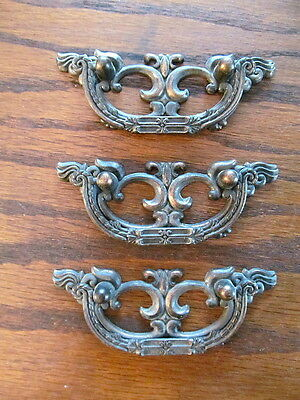 Set 3 vintage Drop Bale Art Nouveau Style Furniture Drawer Pulls Antique Copper