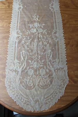 """Fine Antique 19th Century  Lace Table Runner 20 x 108"""""""