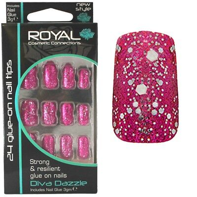 24 faux ongles & colle rose scintillant chatoyant Diva Dazzle false nails pink