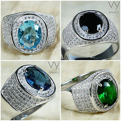 925 Sterling Silver Mens Pinky Ring Turquoise Blue Black Green White Stone L T V