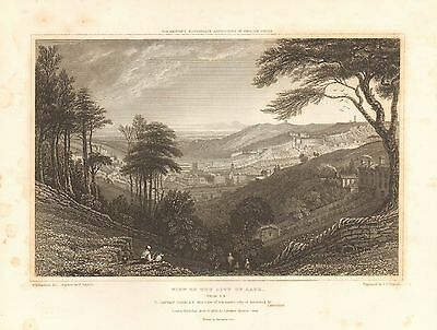 1830 Antique Print Bartlett-City Of Bath-View From South East