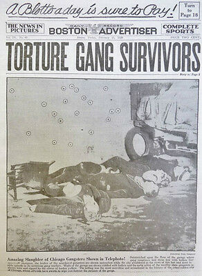 VALENTINE'S DAY MASSACRE AL CAPONE CHICAGO MOBSTERS 2-1929 February 15 NEWSPAPER