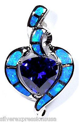 4 Carat Tanzanite & Blue Fire Opal Inlay 925 Sterling Silver Pendant Necklace