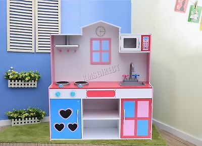 FoxHunter Large Wooden Kitchen Playset Toy Kids Children Cooking Role Play Pink