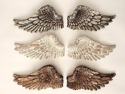 Pair of Angel Wings Ornate Vintage Shabby Cherub Wall Art Hanging Decoration