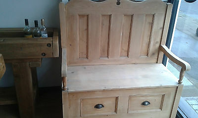 Country Farmhouse Shabby Chic Monks Bench Storage Seat Pine Settle Church Pew