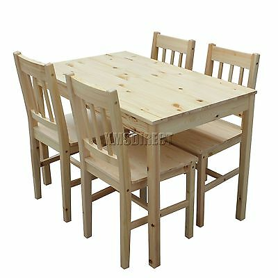 COSMETIC DAMAGE Solid Wooden Dining Table With 4 Chairs Set Furniture Pine