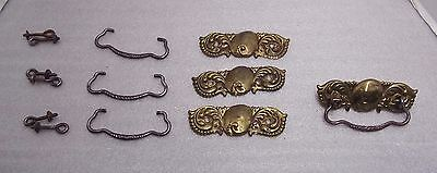 """Lot Of 4 Antique Brass Stamped Pulls, Good Condition, 3"""" Center"""